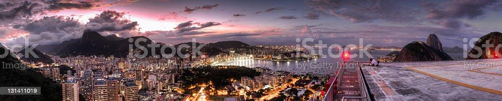 Rio de Janeiro at night panoramic stock photo
