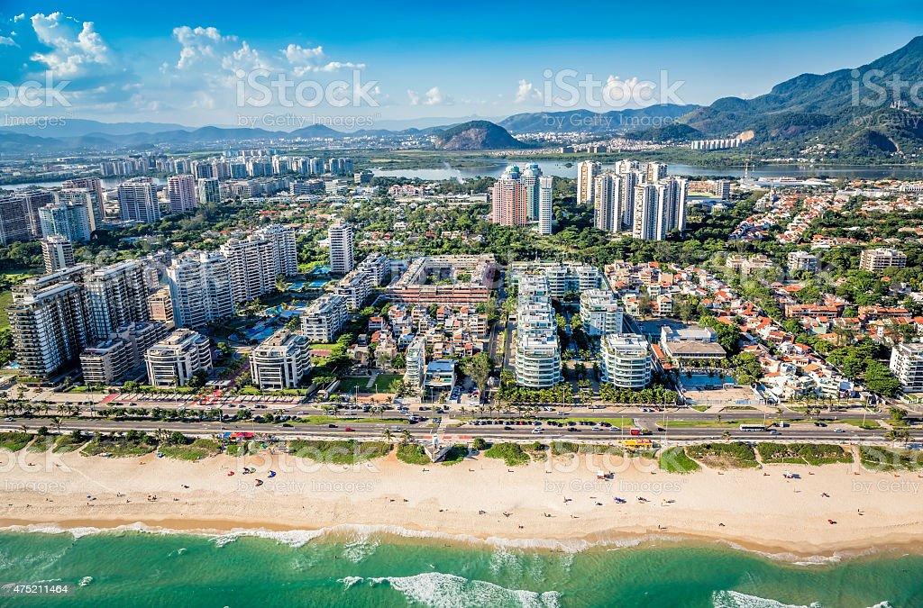 Rio de Janeiro, Barra da Tijuca beachfront architecture,Brazil stock photo