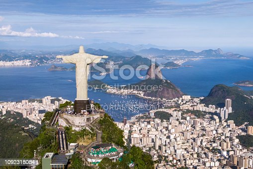 Rio de Janeiro, Brazil - November 12, 2018: Aerial view of Christ the Redeemer statue and Sugarloaf Mountain in Rio de Janeiro, Brazil.