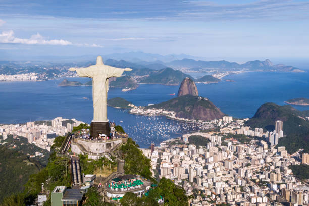 Rio de Janeiro, Brazil, Aerial View of Christ the Redeemer and Sugarloaf Mountain stock photo
