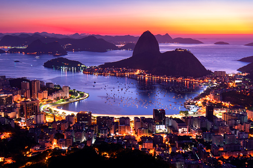 Rio De Janeiro By Sunrise Stock Photo - Download Image Now