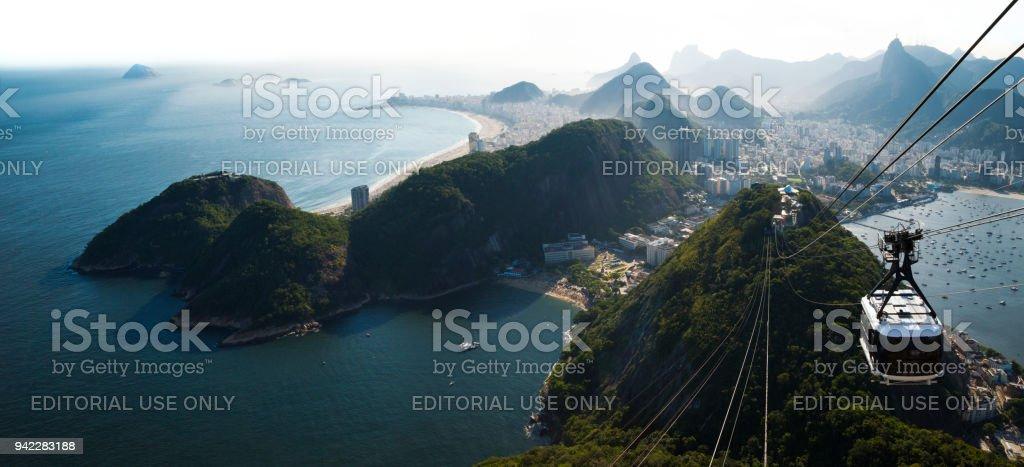 Rio de Janeiro city skyline view from Sugarloaf mountain, Brazil stock photo