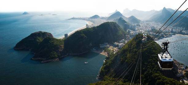 rio de janeiro city skyline view from sugarloaf mountain, brazil - natural landmark stock pictures, royalty-free photos & images