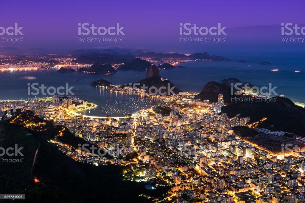 Rio de Janeiro City View at Night stock photo