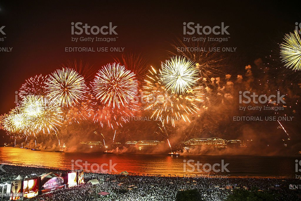Rio de Janeiro Fireworks Display New Years Eve stock photo