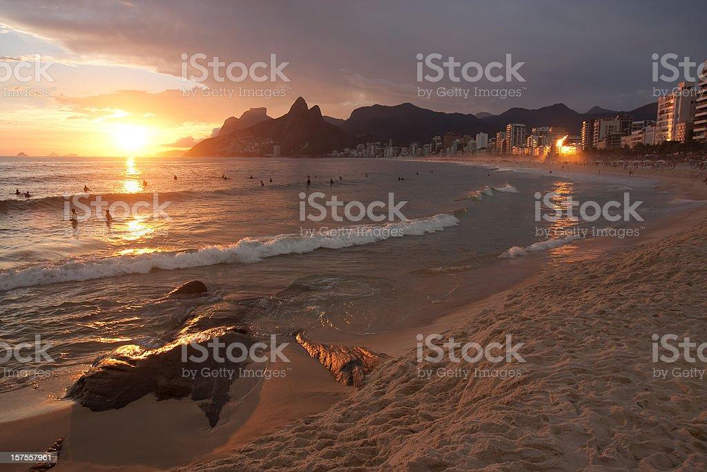 Rio de janeiro. Ipanema Beach at Sunset stock photo