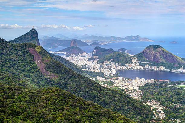 Rio de Janeiro landscape Corcovado, Sugarloaf and Lagoa Rodrigo de Freitas. lagoa rio de janeiro stock pictures, royalty-free photos & images