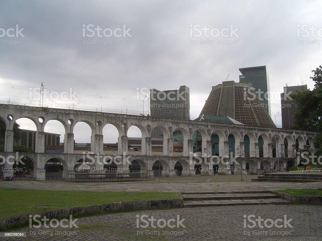 Rio de Janeiro Lapa Arch and Metropolitan Cathedral, Brazil stock photo