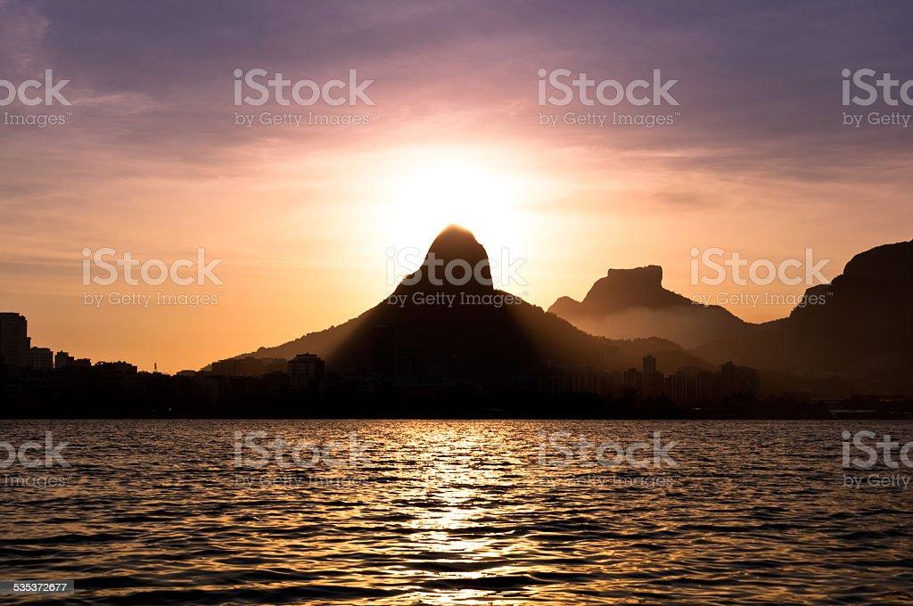 Rio de Janeiro Mountains and Lake by Sunset stock photo