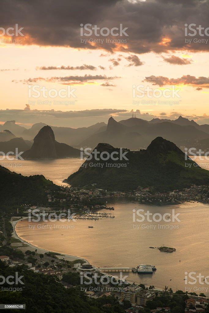 Rio de Janeiro Mountains seen from Parque da Cidade Niteroi stock photo