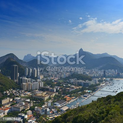 Aerial wideshot of taken from the Sugarloaf Mountain with Botafogo beach and Christ the redeemer in the background on an afternoon in Rio de Janeiro, Brazil