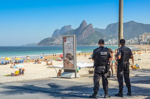 Rio de Janeiro police watch over tourists