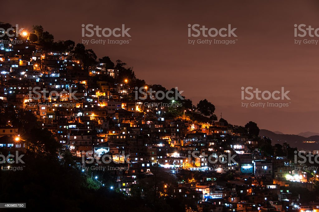 Rio de Janeiro Slums at Night stock photo
