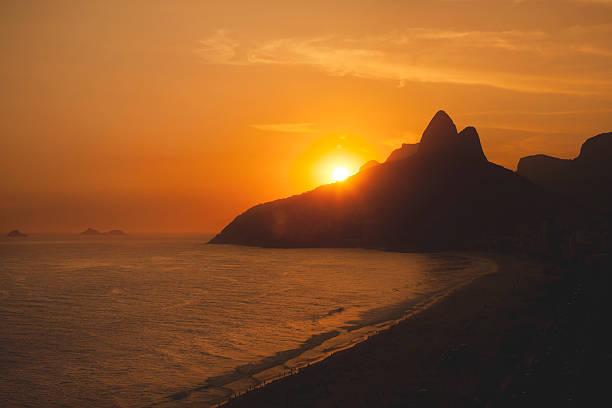 Rio de Janeiro Sunset From Ipanema Beach stock photo