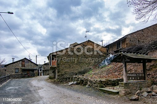 Rio de Onor, Portugal; January 2017 :  Rio de Onor is a village in northern Portugal with traditional houses on two levels being the upper level for the family and the lower level for animals