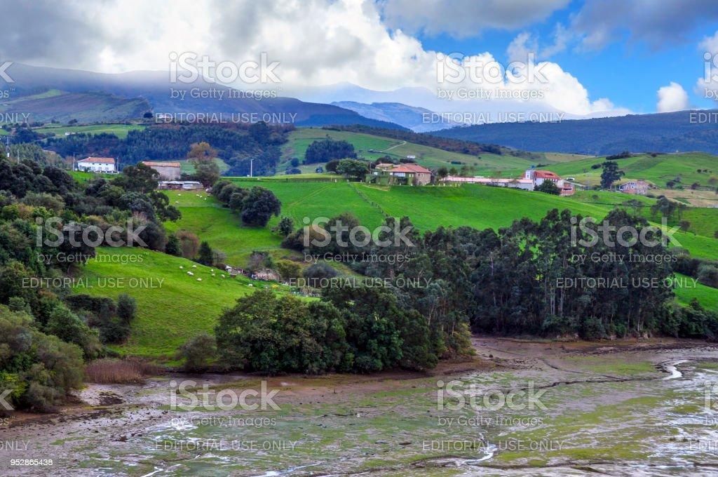 Rio Escudo and San Vicente de la Barquera stock photo
