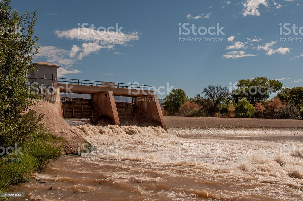 Rio Grande and Percha Dam in Southern New Mexico royalty-free stock photo