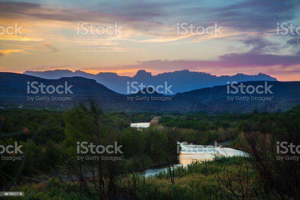 Rio Grande Sunset stock photo