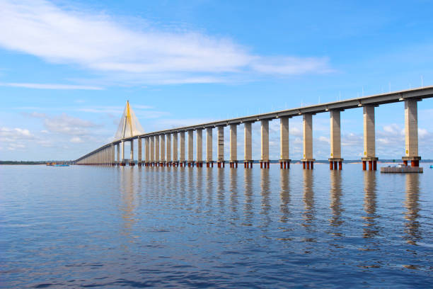 Rio Negro Bridge , Manaus, Amazonas  Brazil Rio Negro Bridge,  a cable-stayed bridge over the Rio Negro that connects  Manaus and Iranduba in Amazonas, Brazil, South America rio negro brazil stock pictures, royalty-free photos & images