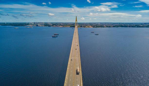 Rio Negro Bridge Ponte Jornalista Phelippe Daou - Manaus - Amazonas rio negro brazil stock pictures, royalty-free photos & images