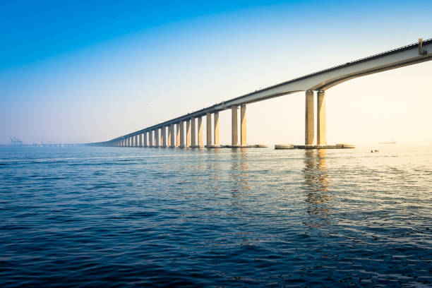Rio - Niteroi Bridge Over Guanabara Bay stock photo