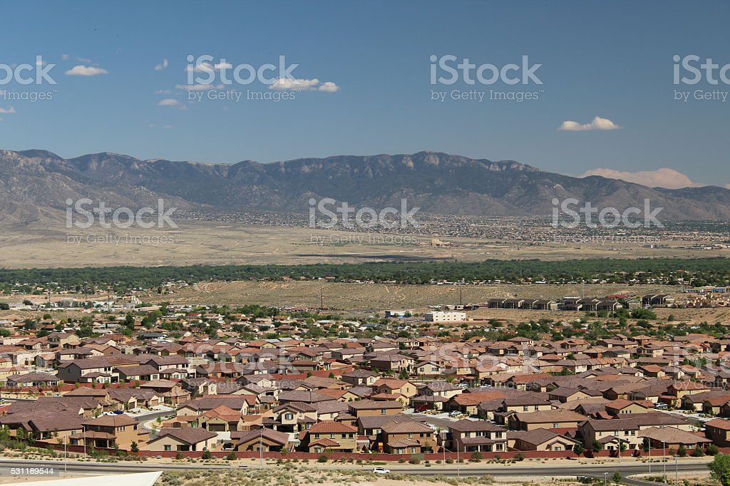 Rio Rancho with Sandia Mountains stock photo