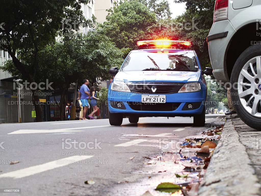 Rio security police car with flashing lights stock photo