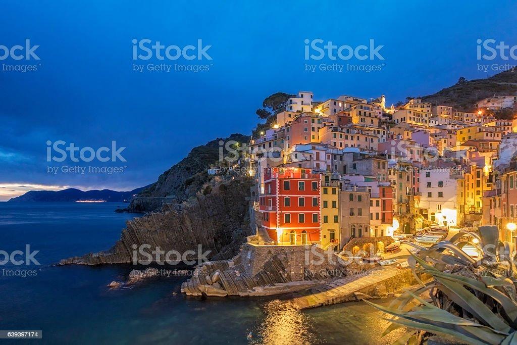 Riomaggiore at dawn, Cinque Terre National Park, Liguria, Italy stock photo