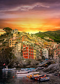 View of the village Riomaggiore at sunrise. Cinque Terre National Park, Liguria. Italy