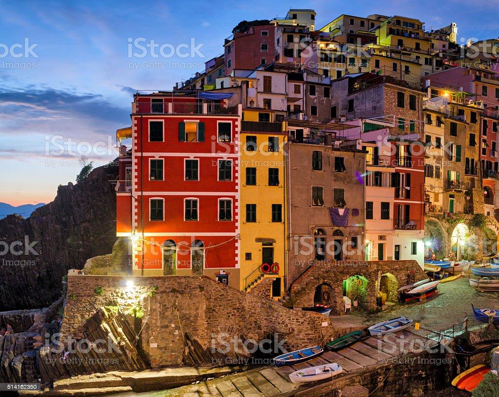 Riomaggiore (Cinque Terre Liguria Italy) at twilight stock photo
