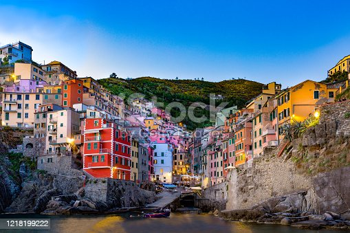Stunning Dusk Image of Riomaggiore , one of the five 'Cinque Terre' villages, situated in the Italian Riviera, Italy