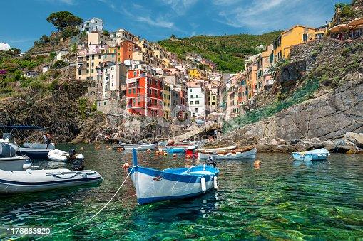 Sea view of Riomaggiore village in Cinque Terre, Italy.