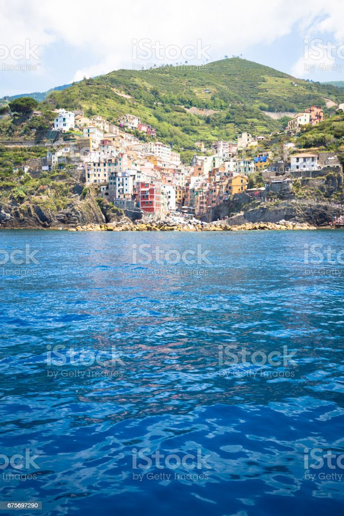 Riomaggiore in Cinque Terre, Italy - Summer 2016 - view from the sea royalty-free stock photo
