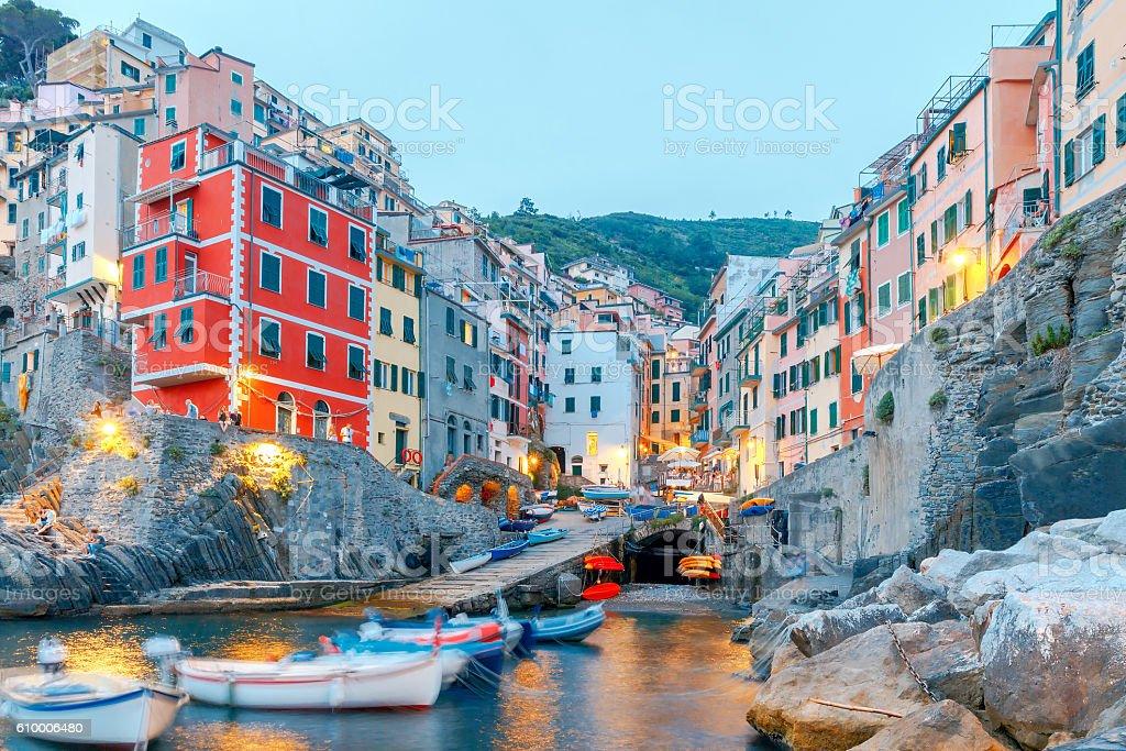 Riomaggiore. Italian village on the coast. stock photo