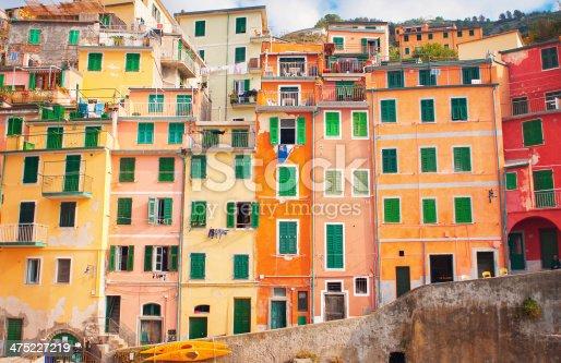 View of colorful Italian houses, Riomaggiore, Italy