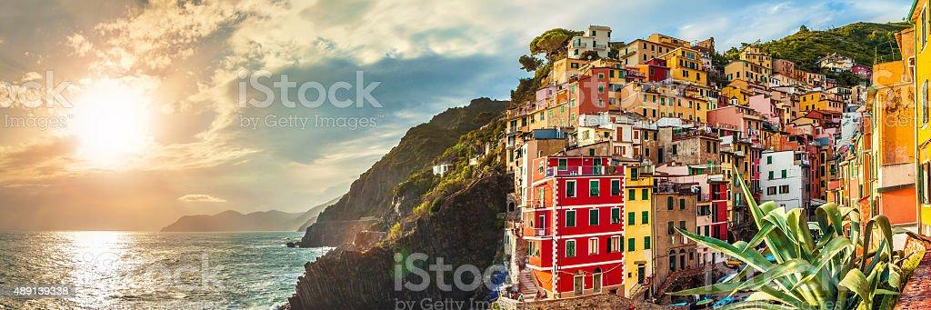 Riomaggiore panorama, Cinque Terre, Italy stock photo