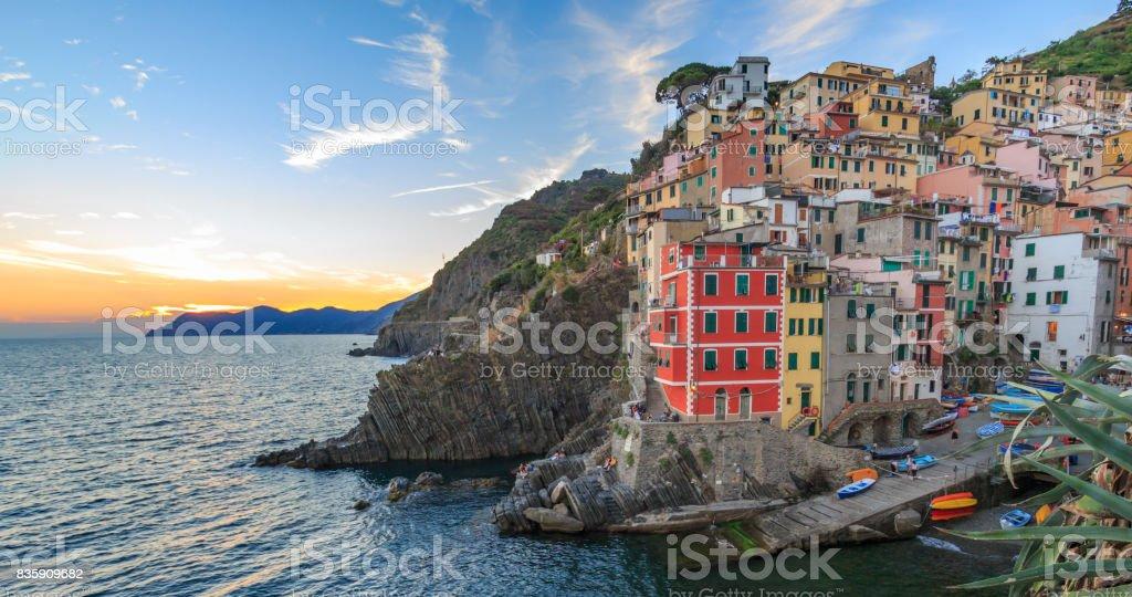 Riomaggiore Sunset - cinque Terre stock photo