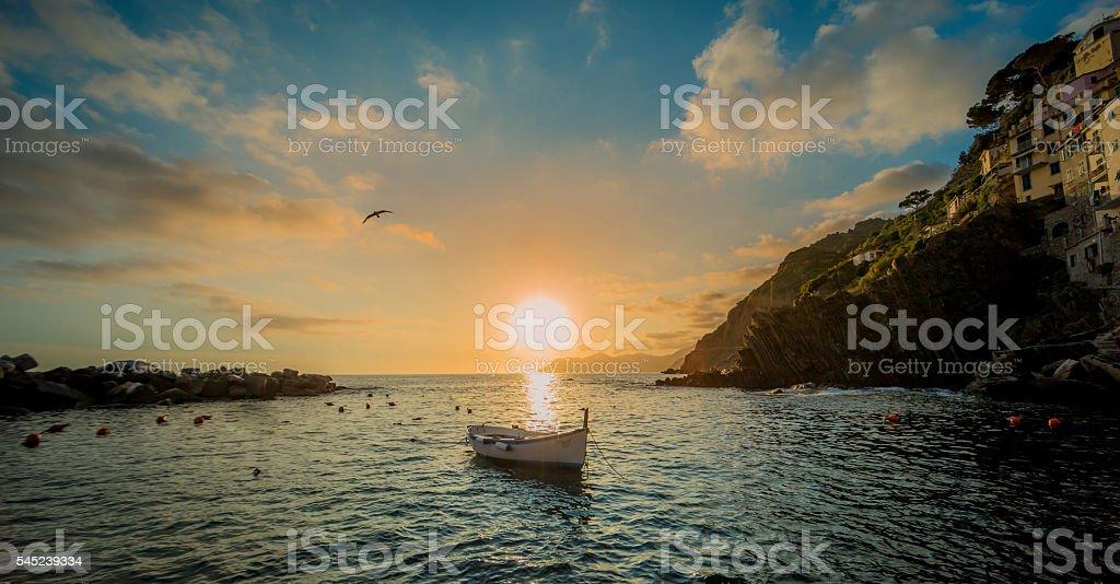 Riomaggiore Sunset stock photo