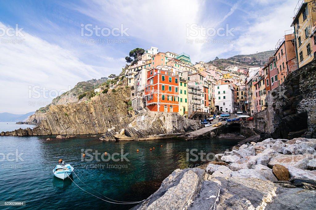 Riomaggiore village of Cinque Terre in Liguria, Italy stock photo
