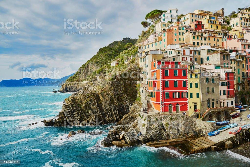 Riomaggiore with its colorful buildings. Cinque Terre, Liguria, Italy stock photo