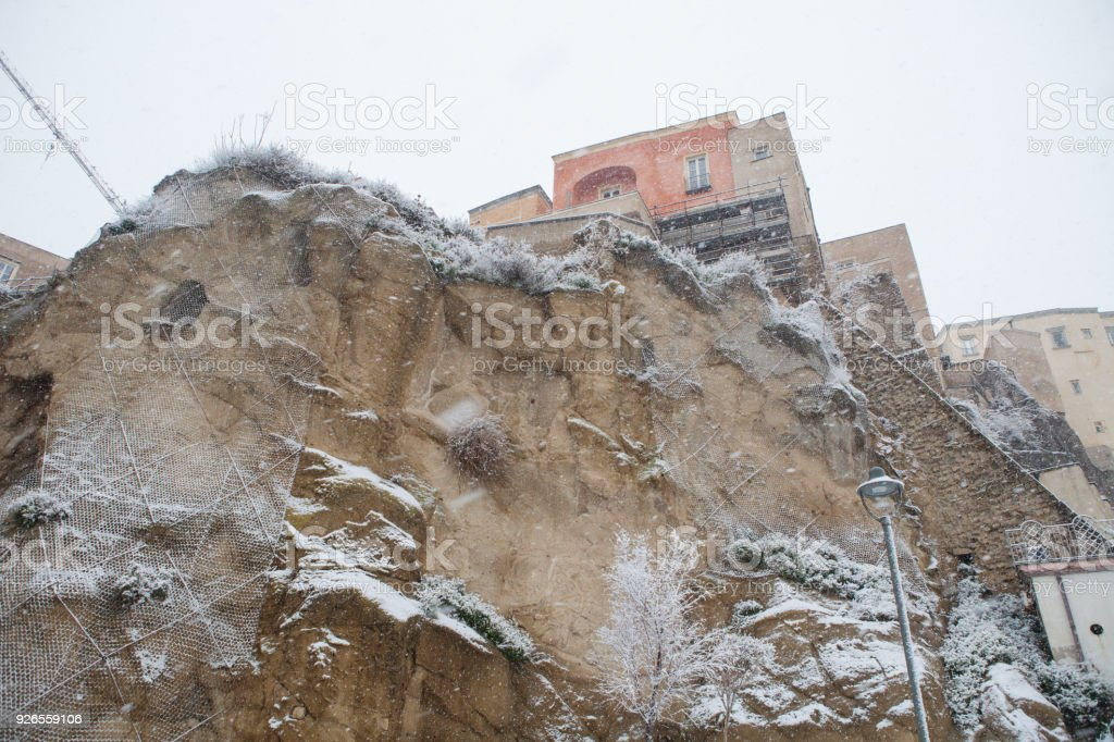 Rione Terra in Pozzuoli with Snow stock photo