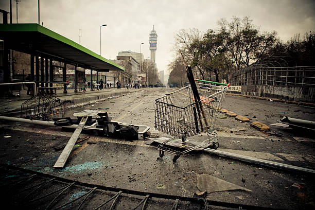 Riot in Santiago stock photo