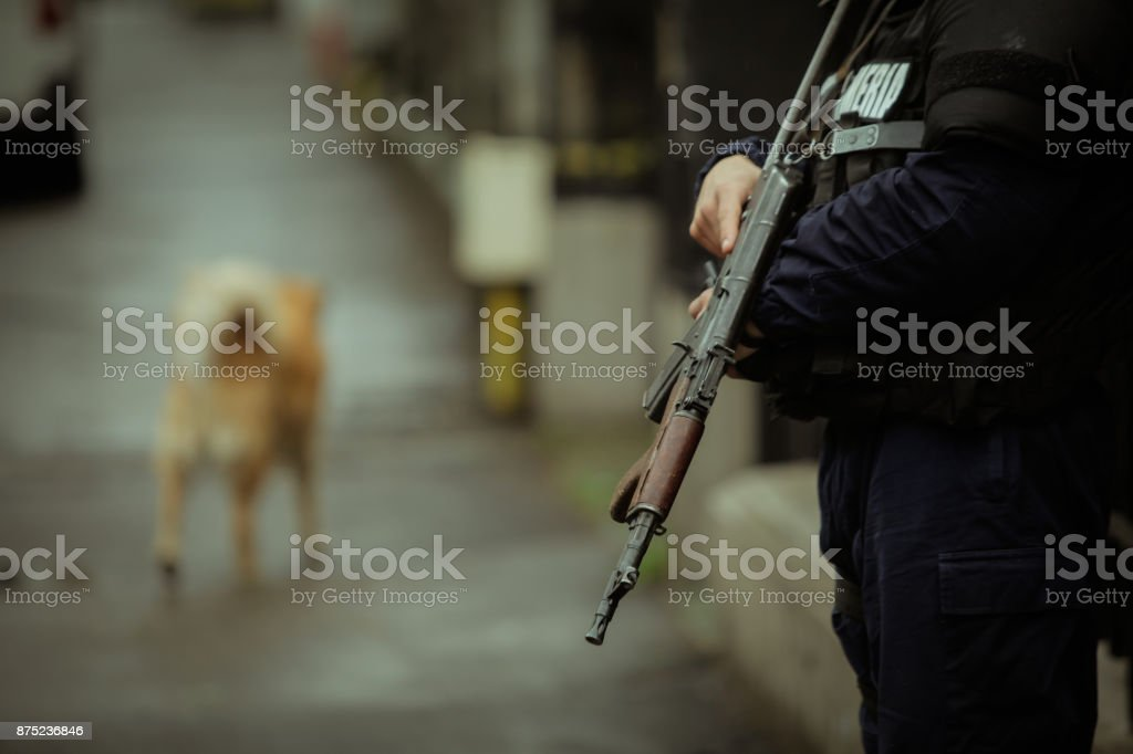 Riot police officer stock photo
