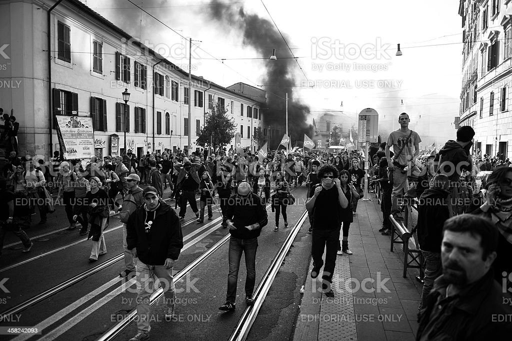 Riots, fire damage royalty-free stock photo