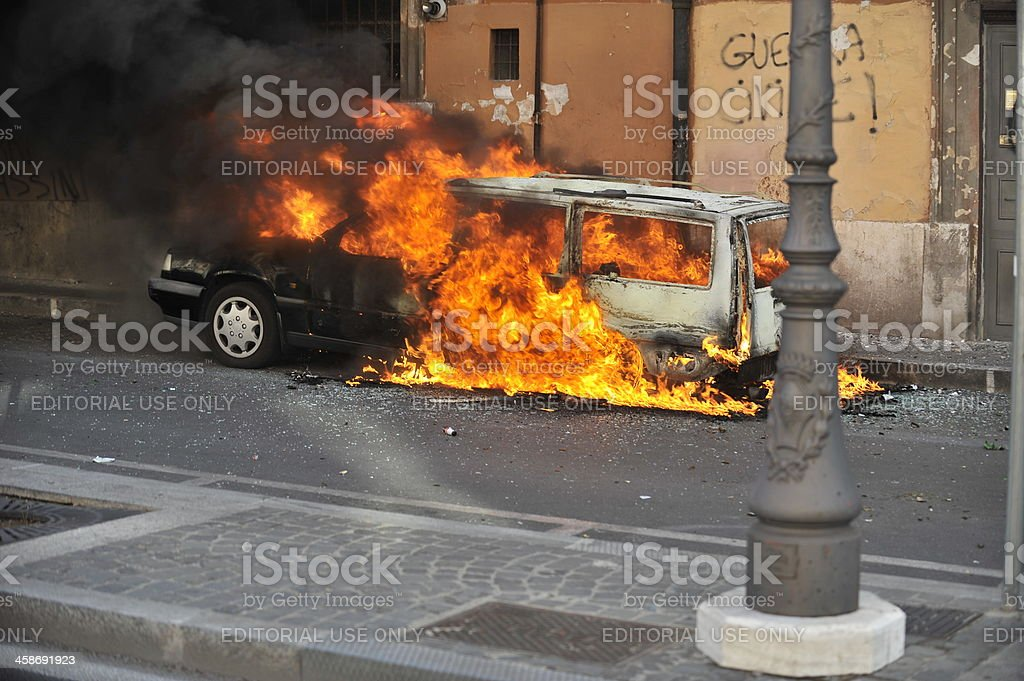 Riots, fire damage stock photo