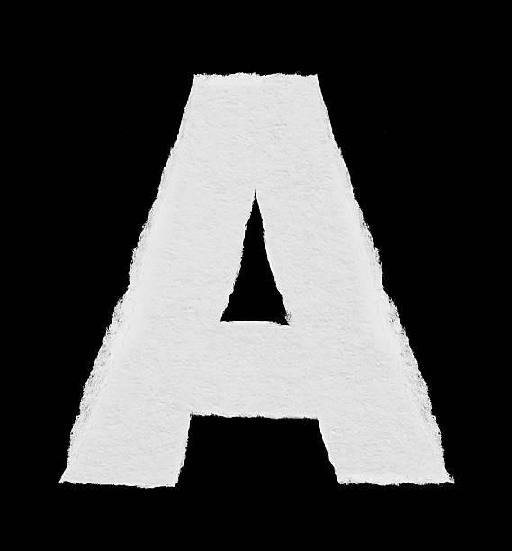 rip papier alphabet buchstabe a - dingbats font stock-fotos und bilder