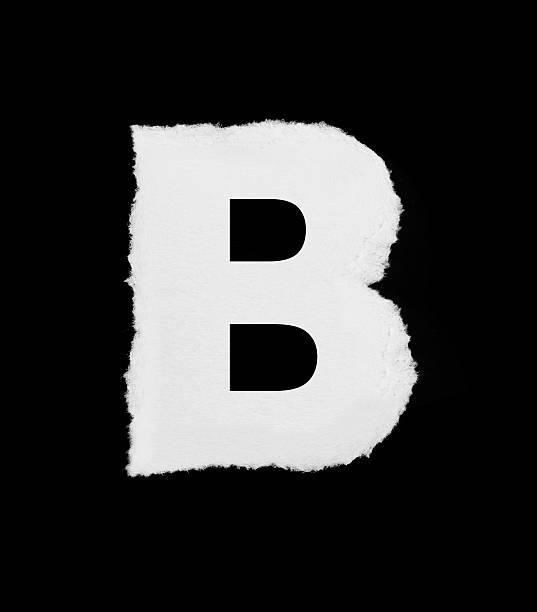 rip papier alphabet buchstabe b - dingbats font stock-fotos und bilder