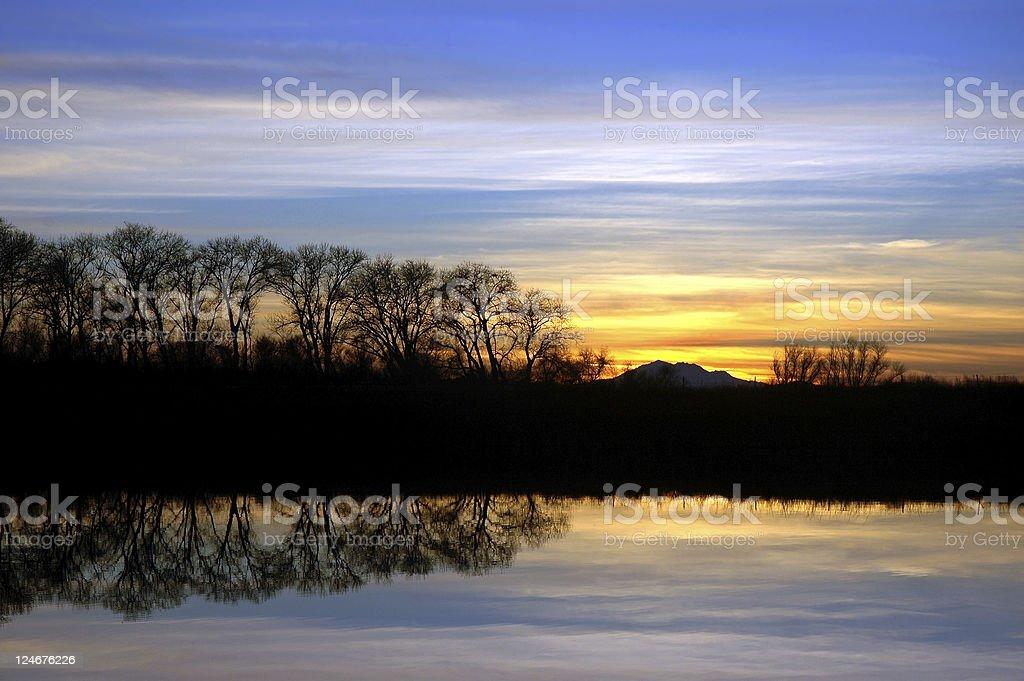 Riparian Sunset stock photo