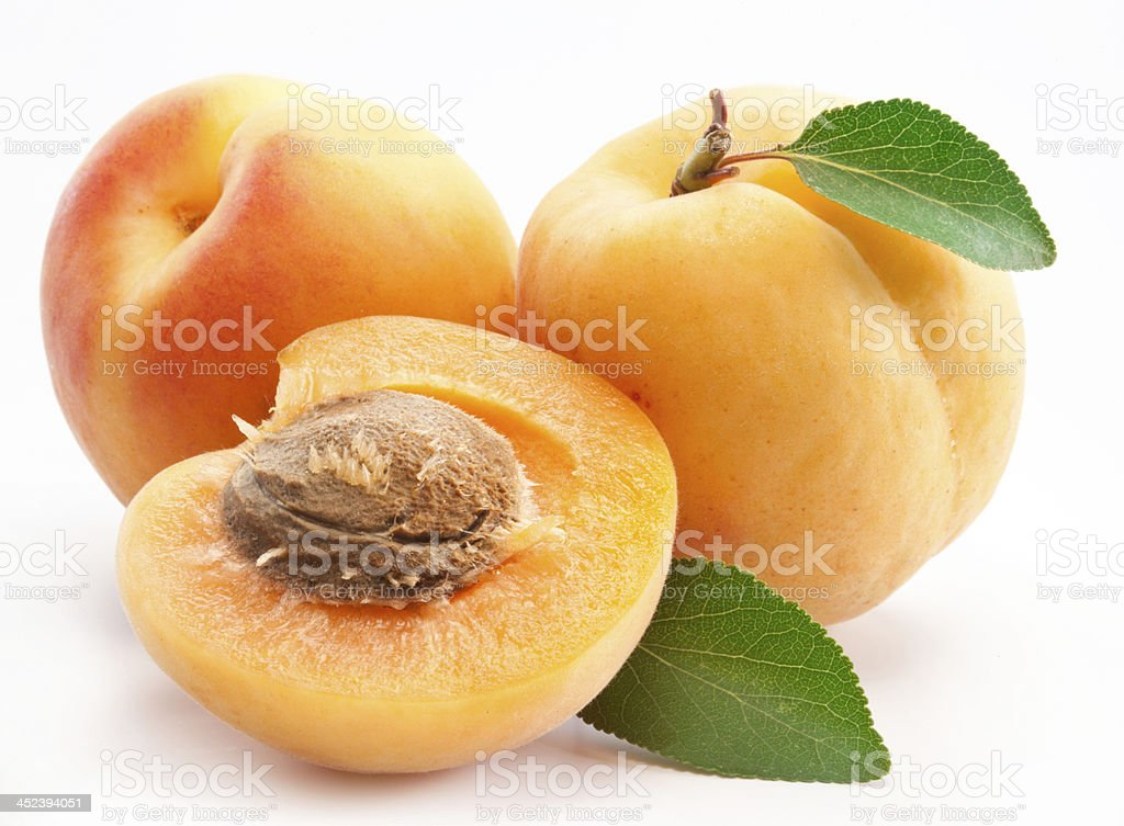 Ripe apricots with leaves on a white background  stock photo