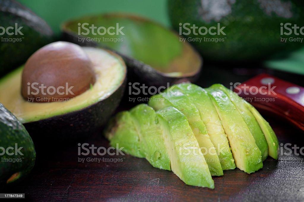 Ripe avocado sliced on the table  royalty-free stock photo